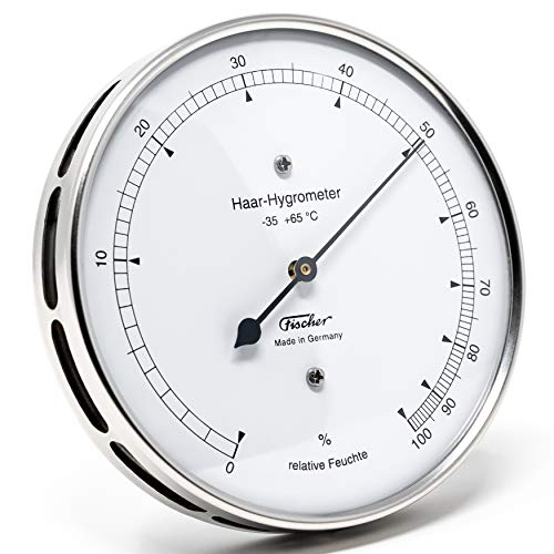 Fischer 111.01 - Hair hygrometer, stainless steel, Diameter 103 mm, Measuring range 0 to 100% relative humidity, accuracy ± 3% RH (20 100%), scale 1% RH