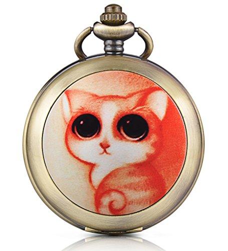 Infinito U Niedlich gato gatito foto Medallón cuerda manual mecánica reloj de bolsillo Esfera Negra Esqueleto Reloj Jersey Collar, ambos Cadenas