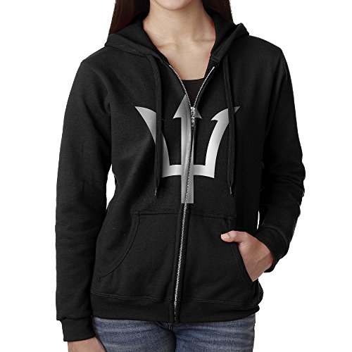 Rigamino Percy Jackson Symbol Trident Logo Women's Hooded Sweatshirt with Pocket Black