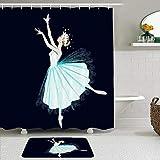 Juego de cortinas y tapetes de ducha de tela,Gráficos Niños Bailarina Vestido largo Corona Mariposas Rubia Actriz clás,cortinas de baño repelentes al agua con 12 ganchos, alfombras antideslizantes