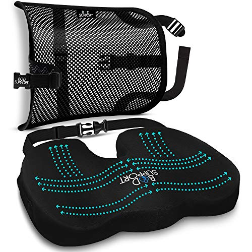 BOD 360 Degrees Fully Adjustable Memory Foam Seat Cushion and Lumbar Support suited for Office...
