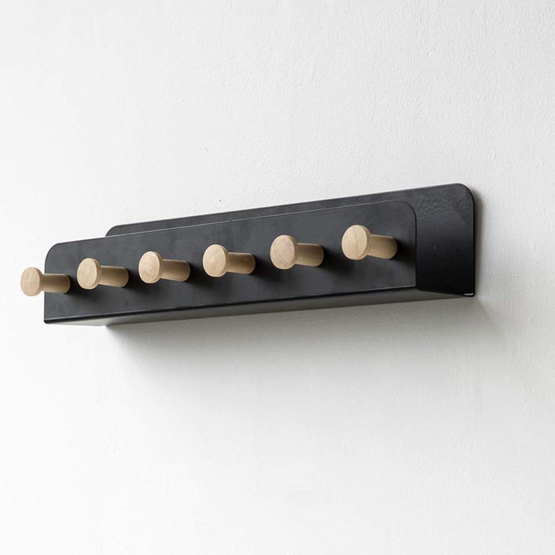 ドライバ自体爪LJHA コートフック、鉄のコートラック壁掛け、木製フック付き(4フック/ 6フック)、衣服/帽子/キー用、入り口収納ラック、3色8.6インチ、12.9インチ ハンガー (色 : 黒, サイズ さいず : 33cm/12.9'')