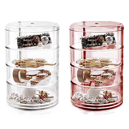 Caja de almacenamiento giratoria transparente de 4 capas para joyas, vitrina cosmética para pendientes, collares, joyas (2 unidades)