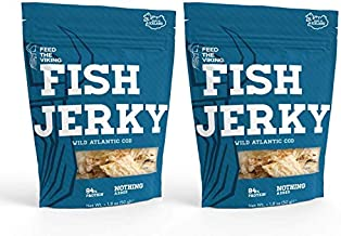 Feed The Viking, Fish Jerky, Wild Atlantic Cod, Made in Iceland, Two 1.8oz Pouches