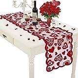 Camino de mesa de Navidad rojo amor corazón encaje 1 pieza decoración de mesa de Navidad mantel para casa cocina boda fiesta suministros