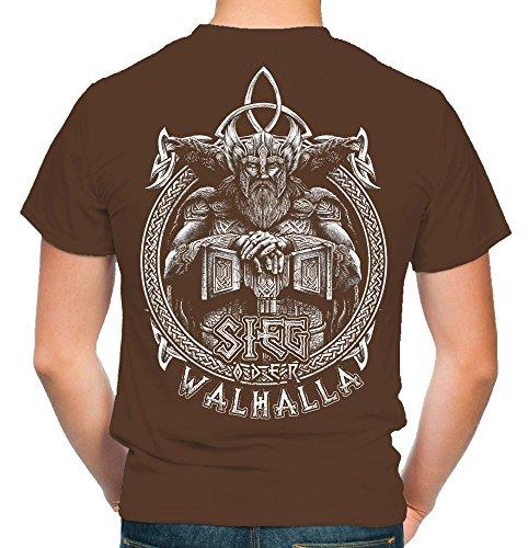 Sieg oder Walhalla Männer und Herren T-Shirt | Odin Wikinger Valhalla Geschenk | M1 FB (XXL, Braun)