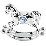 The Emporium Christening Gifts - Figura decorativa con cristales Swarovski, diseño de caballo de balancín, color plateado y azul