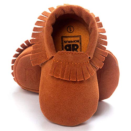 CENCIRILY Infant Baby Soft Sole Suede Moccasins Tassels for Boys Girls Non Slip First Walkers Crib Shoes, 01 Light Brown, 3-6 Months M US Infant