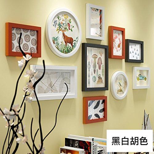 hjky Anbauwand Bilderrahmen Rahmen aus Holz geschnitzt Bilderrahmen Kreative Wohnzimmer Wand Mauer Wand-rund Frames Kombination White and black and red