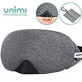 Unimi Baumwolle Schlafmaske Damen und Herren, 2019 neue Design Premium Augenmaske Nachtmaske,100% Lichtschutz, super weich und bequem, Augenschutz f¡§?r Reisen, Schichtarbeit und Nickerchen