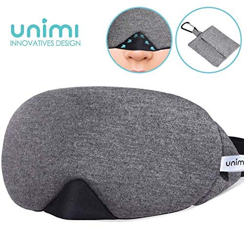 Unimi Baumwolle Schlafmaske Damen und Herren, 2019 neue Design Premium Augenmaske Nachtmaske,100{52e4f8ff55e7fc703b9ab2bca337a7bdc6e8888e56c6f02010832bd5200f4e94} Lichtschutz, super weich und bequem, Augenschutz f¡§?r Reisen, Schichtarbeit und Nickerchen