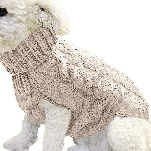 Hundepullover, Rollkragen Gestrickter Hundepullover Klassischer, grobkörniger Strickhündchenpullover für Welpen Welpenpullover Katzenjacke Warmes Haustier Winterkleidung XL Beige