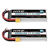 HRB 2 Paquetes 3S Batería Lipo 11.1V 6000mah 50C con XT60 / EC3 / Deans / Traxxas / Tamiya Plug para Traxxas RC Cars Slash vxl Slash 4x4 vxl E-maxx Brushless Axial e-revo Brushless y Spartan Modelos