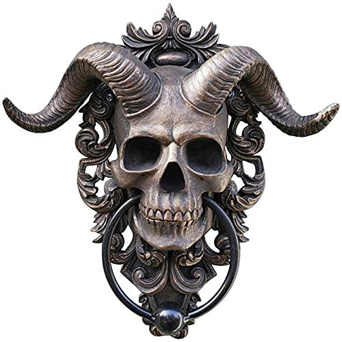 Türklopfer, Türklopfer Antik Gold Türklopfer mit Totenkopf-Motiv, Horned Skull Door Knocker, Horned-God Skull Hängende Türklopfer Hochleistungs Gothic Türklopfer Wanddekoration (1PC)