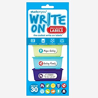 Write and Stick On Self-Adhesive Labels-Boy's Truck Pack- Microwave Safe, Dishwasher Safe, Waterproof and Scratch Resistan...
