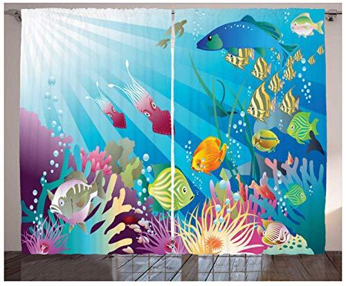MEKVF Wärmedämmvorhang Tropische Fische Unterwasserwelt Ösen Bedruckte Vorhänge Bleistiftfalte Polyester Mikrofaser Kinderküche Wohnzimmer Schlafzimmer,2 Panel 280x250cm(Wxl)