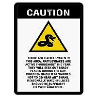 金属の装飾ヴィンテージの壁の錫のサインインチ、ガラガラヘビのエリアは十分に注意してください蛇咬傷を避けてください、公園のサインパークガイドABC警告サイン私有財産のための金属屋外の危険サイン