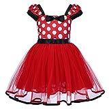 IBTOM CASTLE Toddlers Girls' Polka Dots Christmas Birthday Princess Leotard Costume Tutu Dress Up Mouse Ears Headband Red+ 3D Ears 3-4 Years