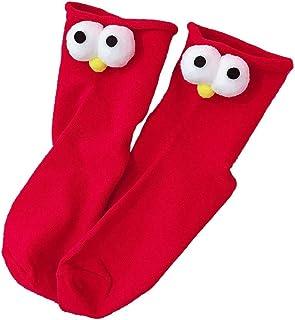 Pila 6PCS del otoño y del invierno Calcetines japonesa de dibujos animados infantiles del tridimensionales de los ojos grandes calcetines calcetines respirables del tubo informal Cómodo y ligero