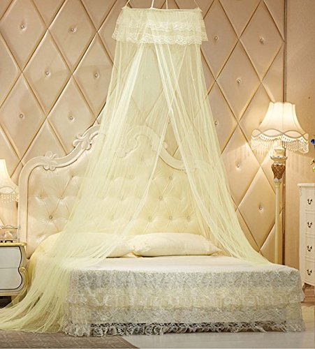 OMGOD Mosquito Nets - King Size Premium Mosquito Net Canopy for Home or Travel, Includes Hanging Kit, Travel Bag, and No Harmful Chemicals. Fits All Beds Up to King Size Yellow
