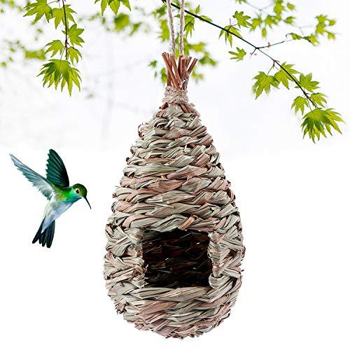 Kimdio Bird House,Winter Bird House for Outside Hanging,Grass Handwoven Bird Nest,Hummingbird House,Natural Bird Hut Outdoor,Birdhouse for Kids,Songbirds House