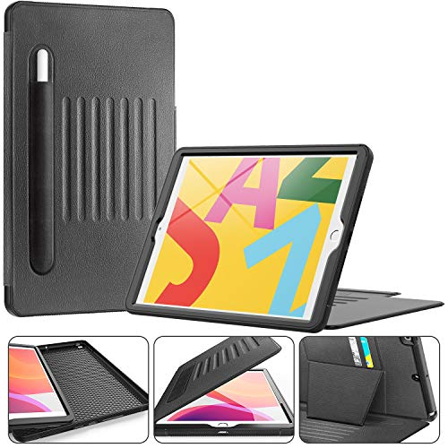 Timecity Case Compatible for iPad 10.2 inch Case (iPad 8th/7th Generation Case). Magnetic Stand Smart Sleep/Wake Elastic Pencil Pocket Card Holder Cover for iPad 8th/7th Gen, Black