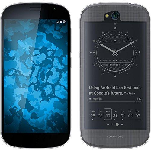 PhoneNatic Case für Yota Yotaphone 2 Hülle Silikon Crystal Clear transparent Cover Yotaphone 2 Tasche + 2 Schutzfolien