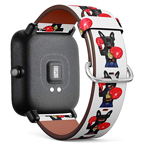 S-Type Quick Release Leather Bracelet Watch Band Strap Replacement Wristband Compatible for Xiaomi Huami Amazfit Bip - Funny Boxing French Bulldog