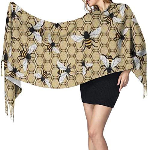 Bijenkorf en bijen zachte kasjmier sjaal Wrap sjaals lange sjaals voor vrouwen Office Party reizen 68X196 cm