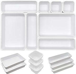 Lot de 8 Organisateurs Tiroir Bureau Cuisine Blanc Rangement Bureau Tiroir Separateur Tiroirs Cuisine Plastique Très Profo...