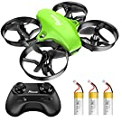 Potensic Upgraded A20 Mini Drone Easy to Fly Drone for Kids and Beginners, RC Helicopter Quadcopter with Auto Hovering, Headless Mode, Remote Control and 3 Batteries - Green