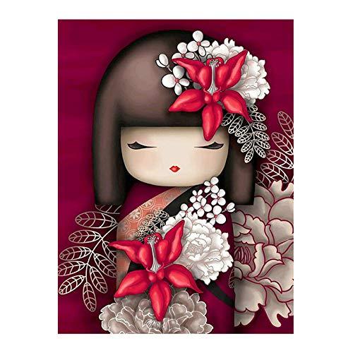 DIY Kit di pittura con numeri, Bambola cartone animato tagliata in carta giapponese 40x50 cm Senza cornice, Pittura fai-da-te Paintworks Artigianato s