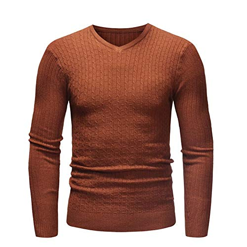 FULUN Mens Long Sleeve Knitwear Knited Warm Sweatshirt Pullover Men's Casual Fashion Crew Neck Cotton Linen Solid Color Slim Fit Sweater Jumper Cardigan Sportswear for Gym Fitness Workout Running