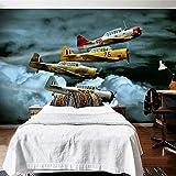 Papel Pintado Fotográfico - Avión de dibujos animados de luchador de arte moderno - Tipo Fleece no-trenzado Salón Dormitorio Despacho Pasillo decoración de paredes moderna 350 x 256 cm