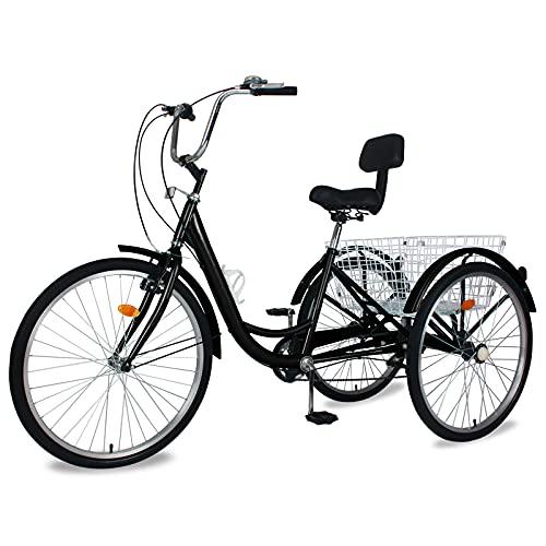industrial trikes MOONCOOL Adult Tricycles 3 Wheel 7 Speed Trikes, 20/24 / 26 inch Adult Trikes 3 Wheeled Bike with Basket for Seniors, Women, Men.