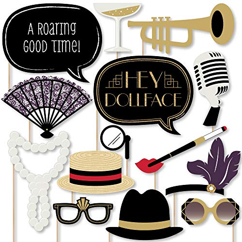 Big Dot of Happiness Roaring 20's - Twenties Art Deco Jazz 1920s Photo Booth Props Kit - 20 Count