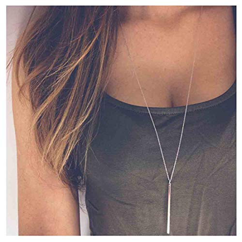 Yfe Bar Pendent Necklace Long Vertical Necklaces Jewelry for Women and Girls Minimal Necklace (Silver)