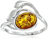 Sterling Silver Honey Amber Small Oval Ring, Size 8
