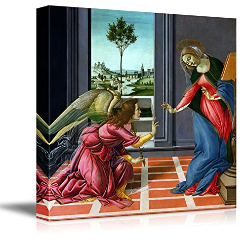 """wall26 - Annunciation by Sandro Botticelli - Canvas Print Wall Art Famous Painting Reproduction - 12"""" x 12"""""""
