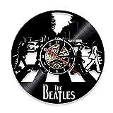 BFMBCHDJ Chanteur Beatles Disque Vinyle Horloge Rétro Nostalgique Décoration de La Maison Mur Horloge Murale A18 Pas LED 12 Pouces