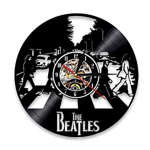 BFMBCHDJ Sänger Beatles Vinyl Schallplattenuhr Retro Nostalgic Home Decoration Wand Wanduhr A18 Keine LED 12 Zoll