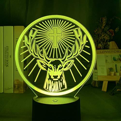 Jagermeister - Lámpara de noche LED de 16 colores cambiantes con sensor táctil USB y luz nocturna a pilas para lámpara de mesa de bar