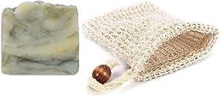 Mijo LEMONGRASS SWIRL Zitronengras Seife handgemachte Naturseife mit Bio Olivenöl ohne Palmöl ca. 100g  Seifensäckchen