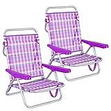 LOLAhome Pack de 2 sillas de Playa Convertibles en Cama de Aluminio y textileno (Violeta)