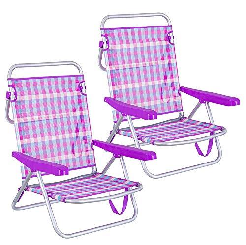 LOLAhome Pack de 2 sillas de Playa Cama de 4 Posiciones de Aluminio y textileno (Violeta)