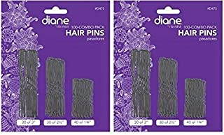 Diane Hair Pins Assorted Size, Black, 100/card - 2 pack