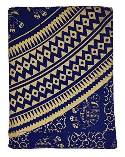 Goods4good Decoración con Diseño de Mandala Elefantes Ideal Cubre Sofa Colcha Cama Pareo Playa Picnic Familiar Grande 210x240cm 100% Algodón (Azul y Dorado)