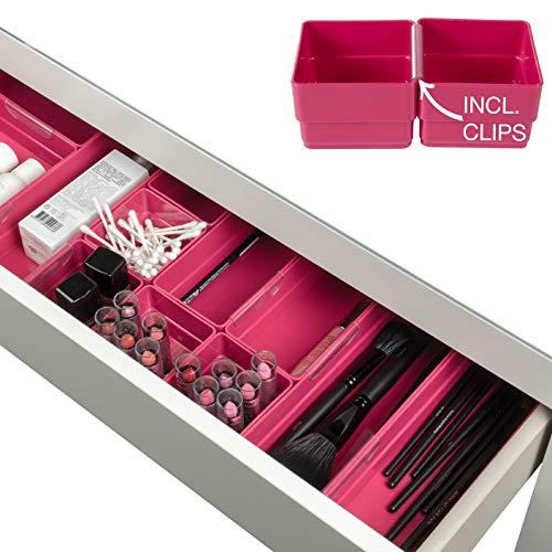 Hausfelder Make-up & Schmink Organizer Set in Pink - Schubladen Schminktisch Kosmetik Ordnungssystem zur Aufbewahrung, variabel aus Kunststoff (Set 10.1 Pink)