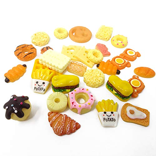 Honbay 30PCS Slime Charms, Assorted Flatback Resin Slime Beads for Scrapbooking, Hair Clip, DIY Crafts, etc (Bread)
