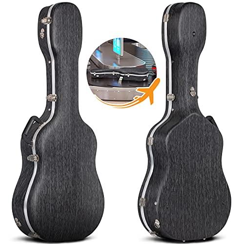 CAHAYA ギターハードケース アコギ アコースティック 航空託送可能 高品質ABS材 15mmクッション 頑丈 耐久 防水 お手入れ簡単 ネックピロー付 大容量 クラシックギター フォークギター ハードケース 白い線付き おしゃれ 収納可能 ブラック 99~104cmギター適用 104cm最適
